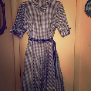 Calvin Klein Blue Gingham Dress Size 12